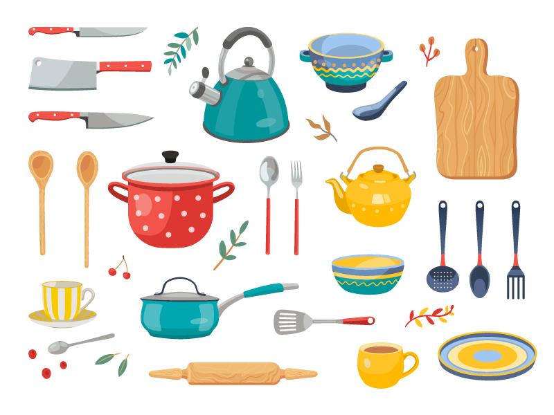 各种各样的厨房用具矢量素材(EPS/免扣PNG)