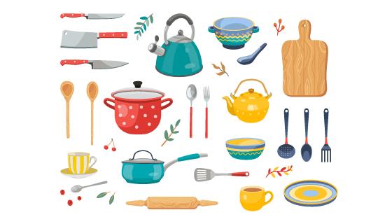 各种各样的厨房用具矢量素材(EPS/PNG)