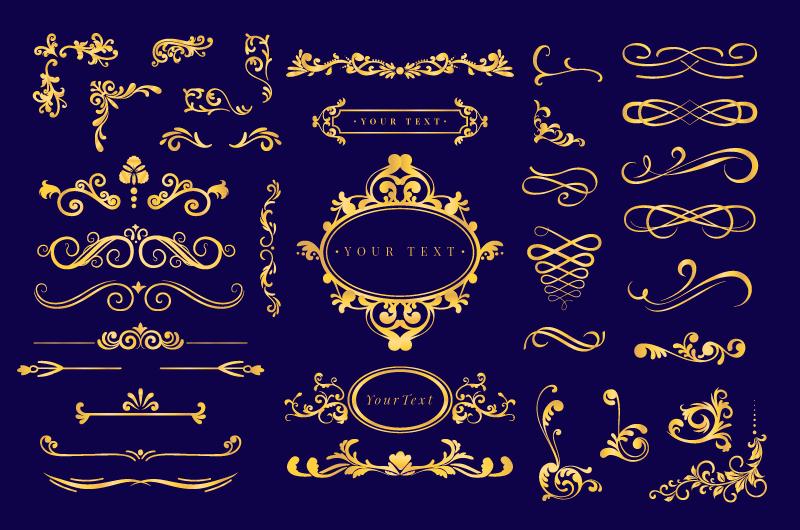 各种各样的金色装饰矢量素材(AI/EPS/免扣PNG)