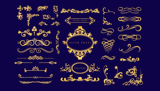 各种各样的金色装饰矢量素材(AI/EPS/PNG)