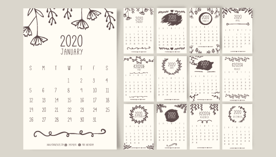 手绘花卉设计2020年日历矢量素材(AI/EPS)