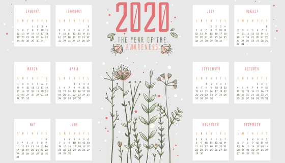 简单花卉设计2020年日历矢量素材(AI/EPS)