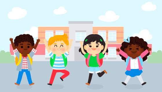 开心返校的学生们矢量素材(AI/EPS)