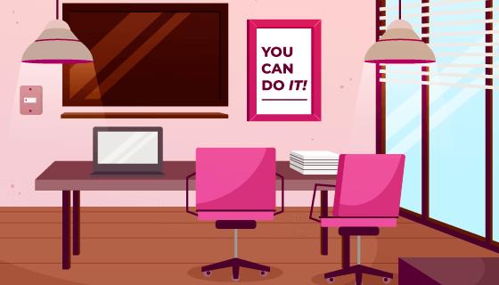 扁平风格的办公室设计矢量素材(AI/EPS)