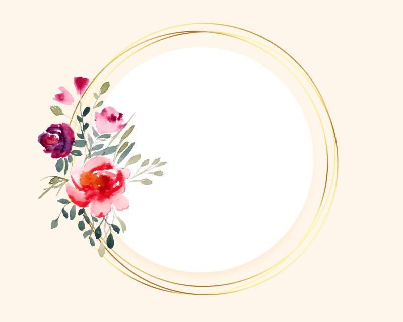 水彩花朵金色边框矢量素材(EPS)