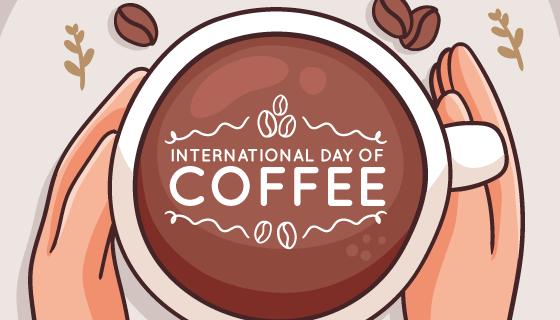 手绘风格手捧咖啡杯矢量素材(AI/EPS)