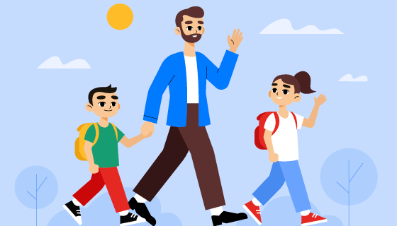 爸爸送孩子上学插画矢量素材(AI/EPS)