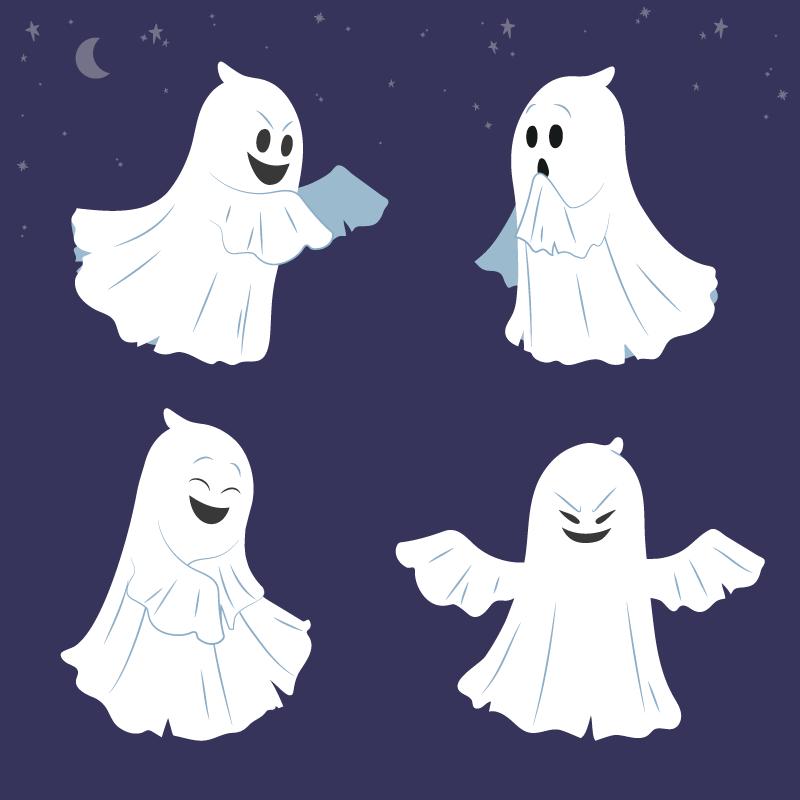 四个万圣节幽灵矢量素材(AI/EPS/免扣PNG)