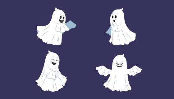 四个万圣节幽灵矢量素材(AI/EPS/PNG)