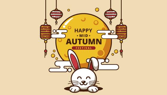 兔子灯笼月亮设计中秋节背景矢量素材(AI/EPS)