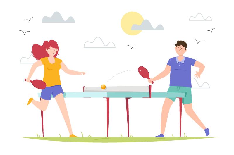 打乒乓球的人们矢量素材(AI/EPS/免扣PNG)