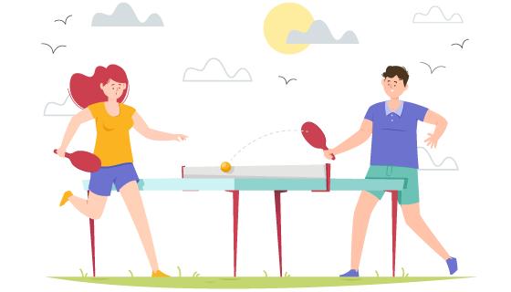 打乒乓球的人们矢量素材(AI/EPS/PNG)