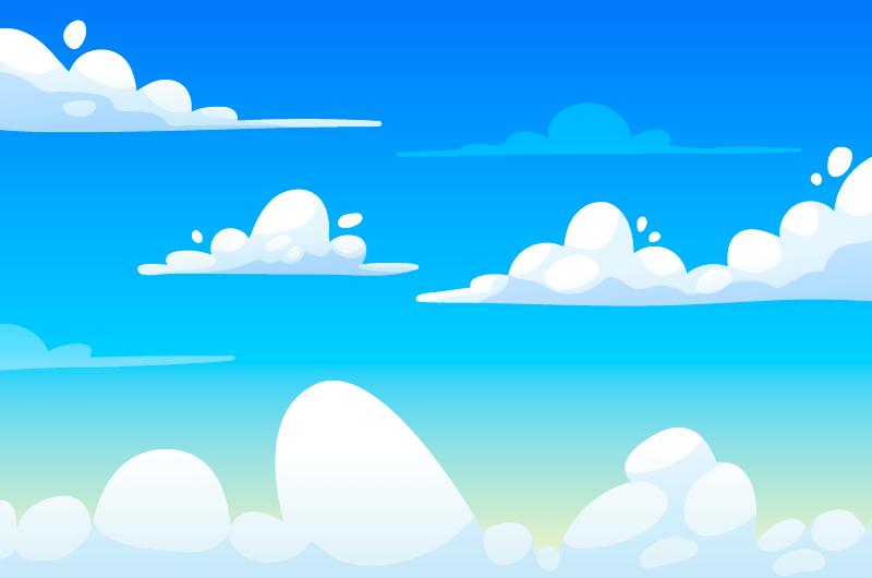 清爽的蓝天白云背景矢量素材(AI/EPS)