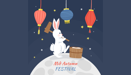 兔子灯笼设计中秋节背景矢量素材(AI/EPS)