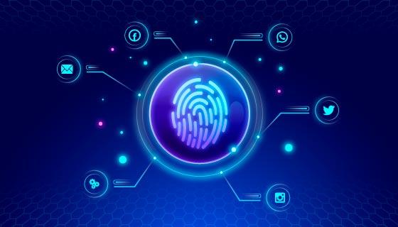 指纹识别科技背景矢量素材(AI/EPS)