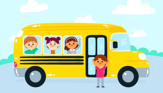 黄色校车和孩子们矢量素材(AI/EPS)