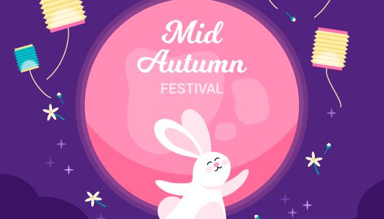 翩翩起舞的兔子中秋节矢量素材(AI/EPS)