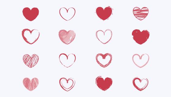 手绘风格爱心集合矢量素材(AI/EPS)