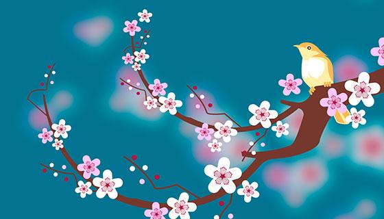 樱花和鸟的背景矢量素材(EPS/AI)
