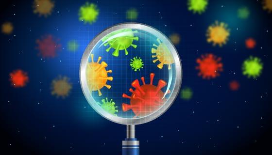 显微镜下的新型冠状病毒矢量素材(AI/EPS)