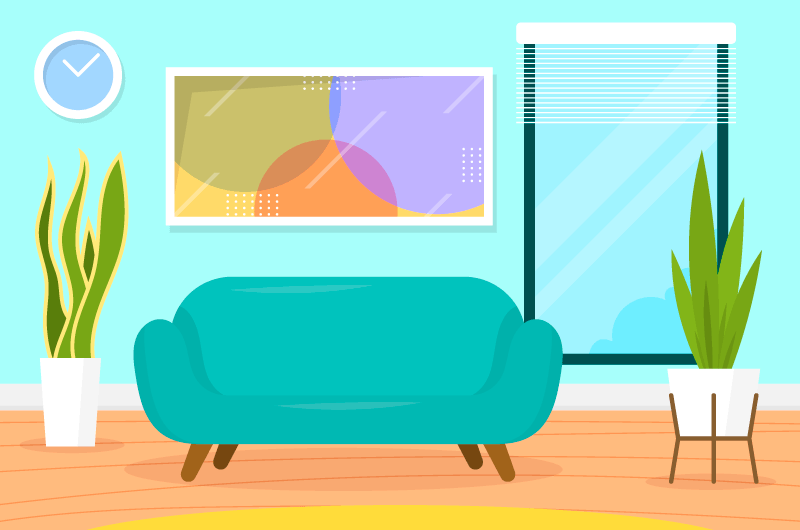 扁平家庭客厅背景矢量素材(AI/EPS)