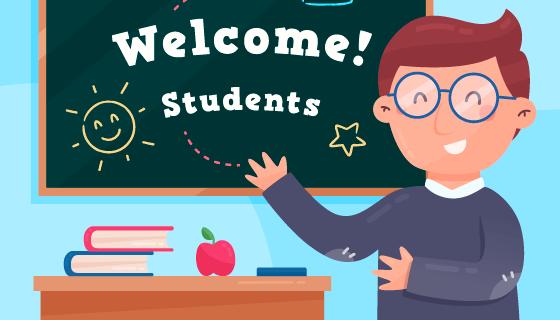 老师欢迎学生返校矢量素材(AI/EPS)