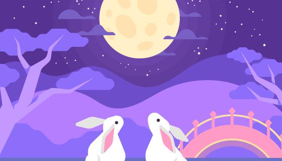 抬头望月的兔子中秋节矢量素材(AI/EPS)