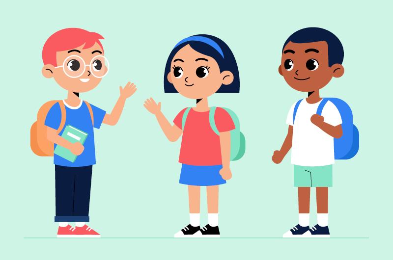 见面打招呼的小学生矢量素材(AI/EPS/免扣PNG)
