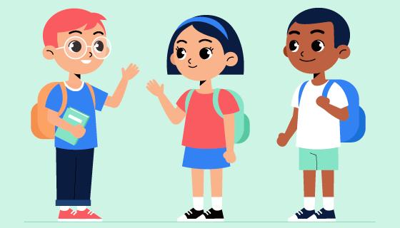 见面打招呼的小学生矢量素材(AI/EPS/PNG)