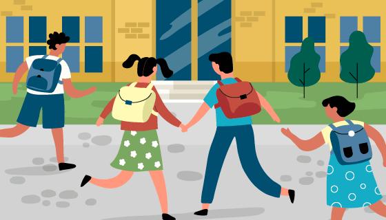 奔向学校的学生们矢量素材(AI/EPS)
