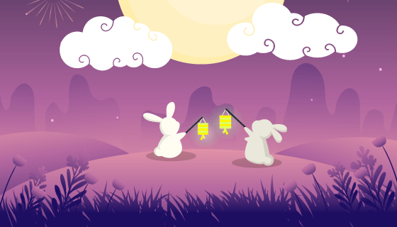 挑灯望月的兔子中秋节矢量素材(AI/EPS)