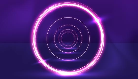 抽象圆圈霓虹灯背景矢量素材(AI/EPS)