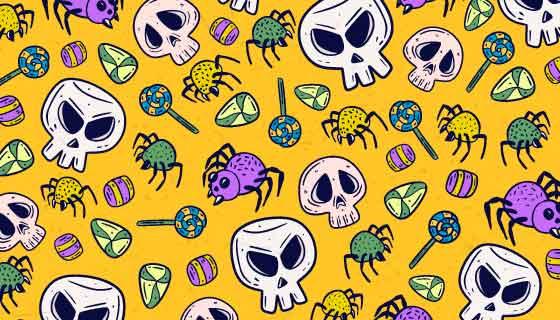 骷髅蜘蛛图案万圣节背景矢量素材(AI/EPS)