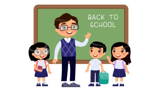 老师欢迎学生返校矢量素材(EPS)