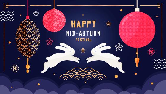 飞跃的兔子中秋节矢量素材(AI/EPS)