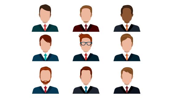 9个商务人士头像矢量素材(EPS/PNG)