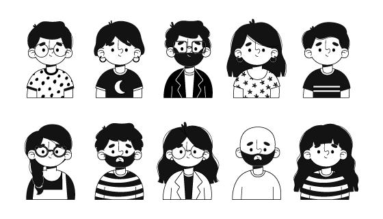 黑白风格的人物头像矢量素材(AI/EPS/PNG)