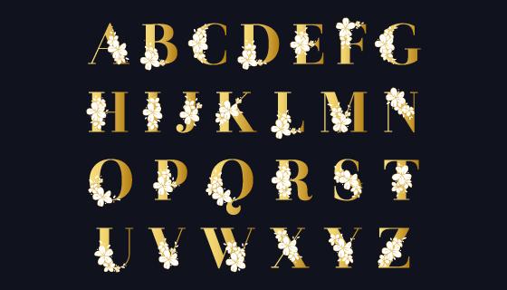 花卉点缀的金色字母矢量素材(AI/EPS/PNG)