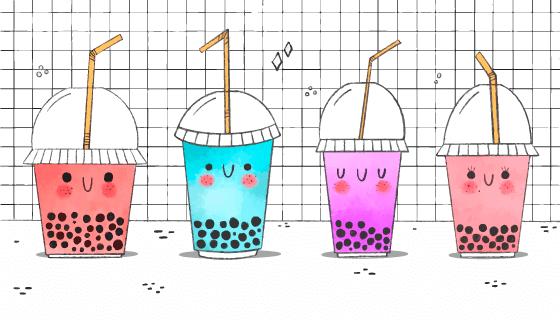 卡哇伊风格的珍珠奶茶矢量素材(AI/EPS)