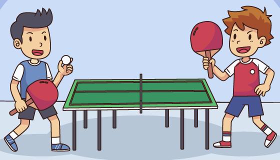 两个打乒乓球的小男孩矢量素材(AI/EPS)