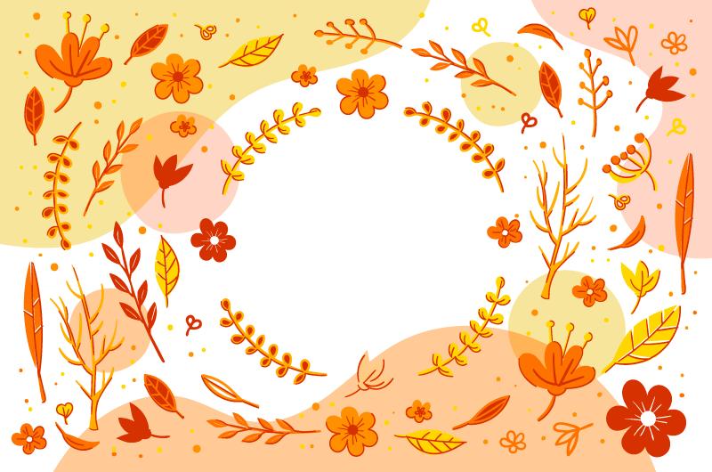 各种叶子设计的秋天背景矢量素材(AI/EPS)