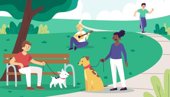 在公园里休闲活动的人们矢量素材(AI/EPS)