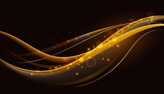 闪亮的金色波浪背景矢量素材(AI/EPS)