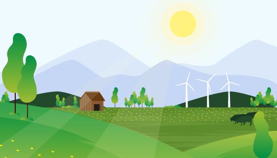 农场自然景观矢量素材(AI/EPS)