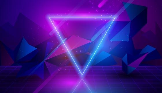 紫色三角霓虹灯背景矢量素材(AI/EPS)