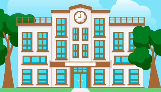 扁平风格学校教学楼矢量素材(AI/EPS)