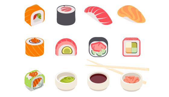 美味的寿司矢量素材(EPS/PNG)