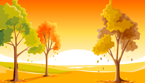 金黄色的树木秋天背景矢量素材(AI/EPS)