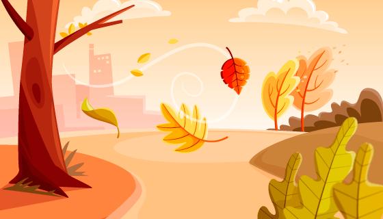 金黄色树木草地秋天背景矢量素材(AI/EPS)