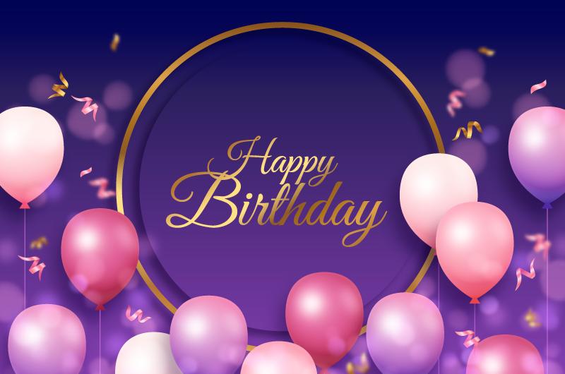 粉色气球设计生日快乐背景矢量素材(AI/EPS)